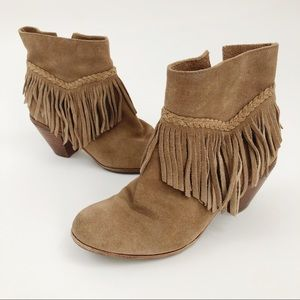 Gianni Bini Suede Fringe stacked ankle booties